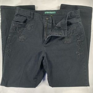 Lauren Jeans black jeans w/embroidered detail 14